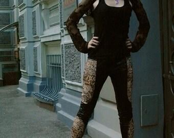 Black leggings, leopard leggings, lycra leggings, Gothic leggings, wet look leggings, goth street wear pants, nu goth leggings, MASQ