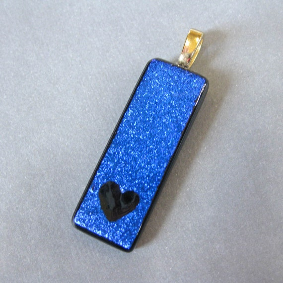 Heart Necklace, Blue Fused Glass Pendant, Hand Etched Fused Glass Jewelry, Heart Love Jewelry, Ready to Ship - Devotion -593-2