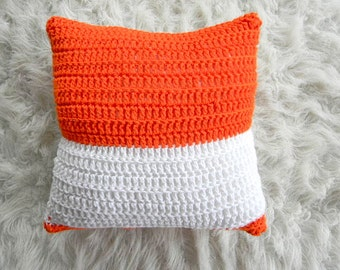 orange and white modern knit pillow cover 16x16