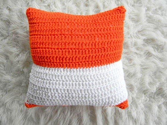 Modern Knitted Pillow : orange and white modern knit pillow cover 16x16 by pillowhappy