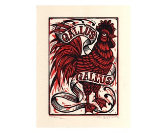 Art, Rooster Linocut, Rooster Hand Carved Linocut Art Print, Farm Animal Wall Decor, Farmhouse Art, Latin
