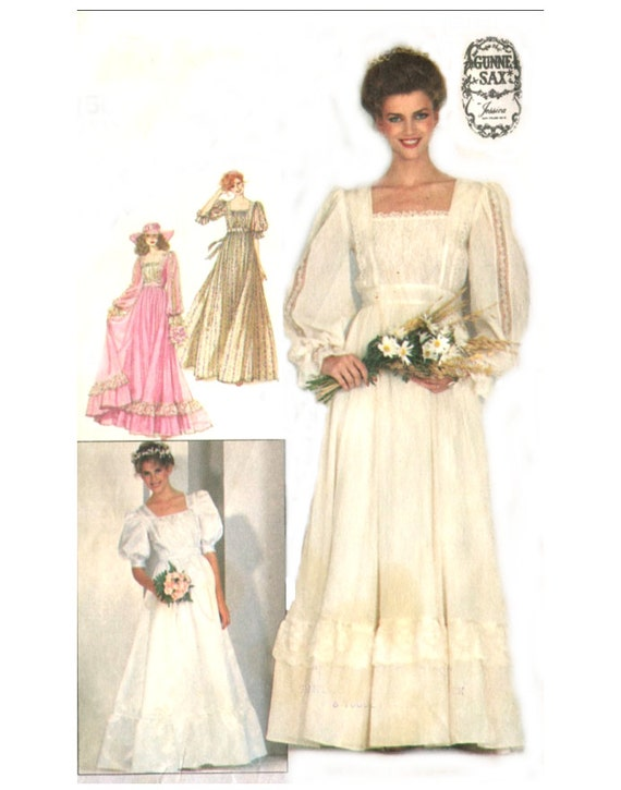 1980s Gunne Sax Boho Wedding / Bridesmaid Dress - Vintage Sewing Pattern Simplicity 5262 Size 8 / Bust 31 Uncut