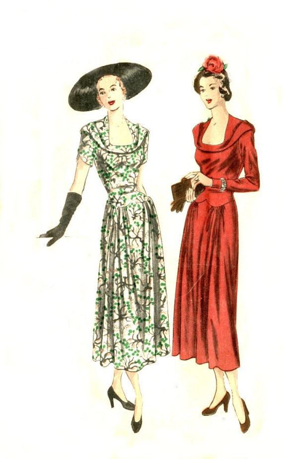 1940s Vintage Dress Pattern - Vogue 6396 - Deep Neckline / Rolled Bias Collar / Shaped Lower Bodice - Bust 40