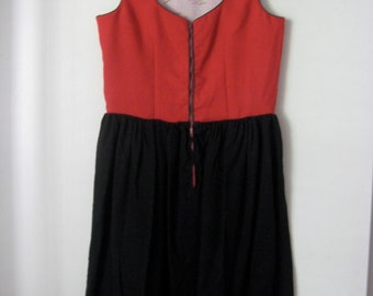 vintage red black dutch zip sundress xs