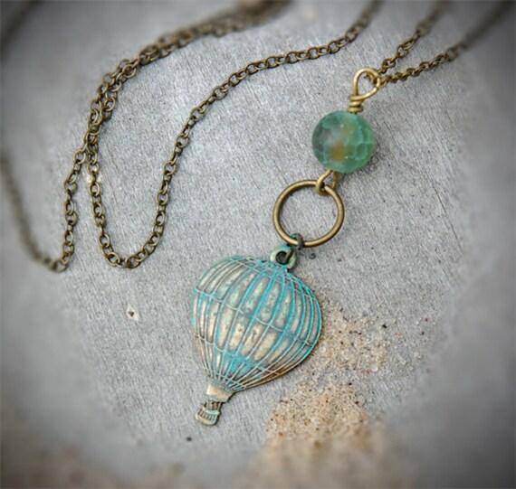 Travel Envy - Hot Air Balloon Necklace, green verdigris, steampunk, charm necklace