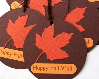 Fall Favor Tags - Fall Harvest Tags - Autumn Leaf Tags - Happy Fall Y'all Tags - Party Favor Tags, Gift Tags, Thanksgiving, Halloween