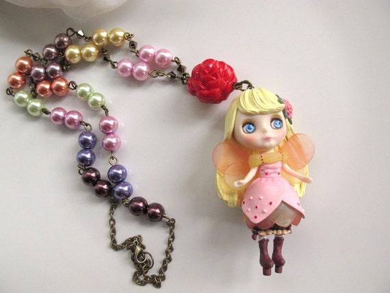 Mori Forest Harajuku Lolita Style Fantasy Garden Princess Fairy Girl Cosplay Big Eyed Blythe Doll Rainbow Glass pearls Long Necklace
