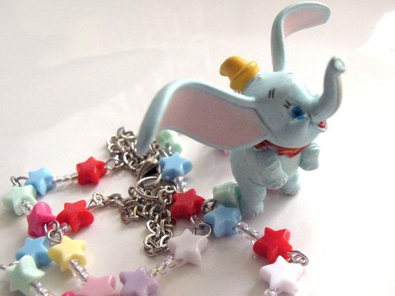 Kawaii Harajuku Sweet Retro Vintage Style Big Ears Dumbo Elephant Rainbow Colourful Stars Necklace
