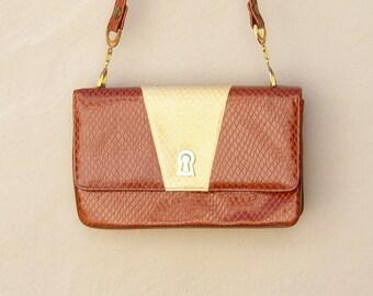 Faux alligator purse / Hill and Dale fashion / caramel cream shoulder bag / gold chain hardware