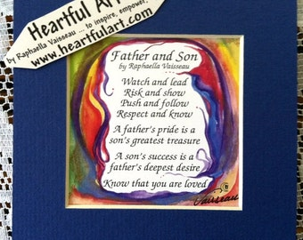 FATHER SON 5x5 Original Poem Inspirational Quote Family Child Sayings Dad Birthday Gift Home Wall Decor Heartful Art by Raphaella Vaisseau