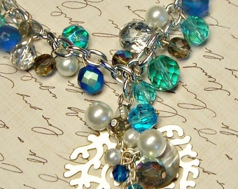 Beach Beauty blue Czech glass necklace with silver coral reef ooak multi bead toni Kelly