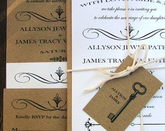 Wedding Invitations Skeleton Key, Modern Vintage Wedding