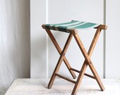 RESERVED ////   Vintage Striped Camp Stool /  Luggage Stand, Tray Table