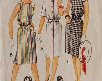 """1960s vintage original Style 1483 sewing pattern for button or plain-fronted dress bust 36"""""""