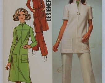 "1970s vintage original Simplicity 9509 sewing pattern women's dress, tunic, pants Bust 34"""