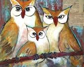 Owl Decor, Three Little Birds, Fine Art Print, Artwork, Archival, Cute Woodland Animals 11X14 Matted