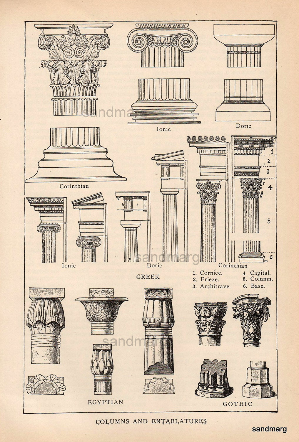 Antique Edwardian Architectural Print Of Columns And