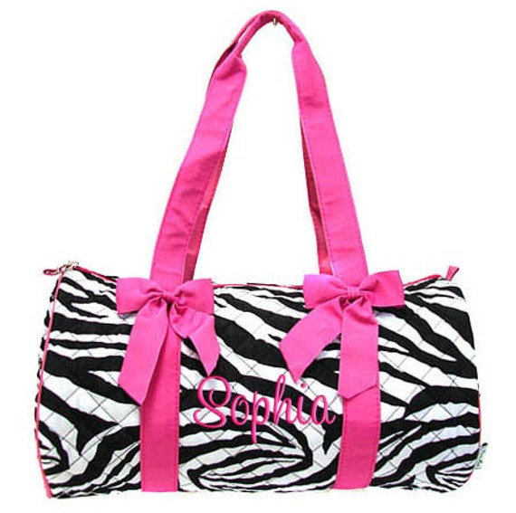 Personalized Duffle Bag Zebra Pink Quilted Dance Gym Luggage Monogrammed