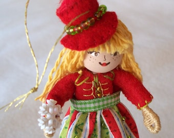 Art Dolls and Miniatures Santa's Helper Christmas Doll Hanging Ornament