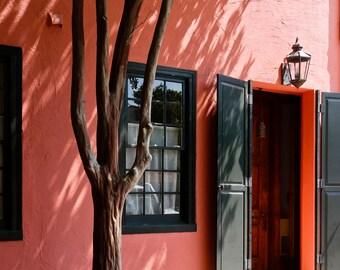 Coral Stucco Row House and Tree Fine Art Photograph 8x10