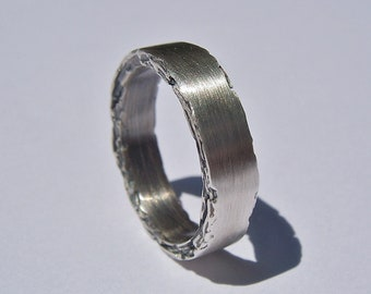 Sterling Silver Rough Edge Band 5mm width
