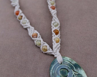 Tree and Moon with Mixed Jade Hemp Macrame Necklace - Natural Bohemian Hippie