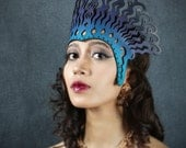 Cleopatra leather headdress in blue, violet and black