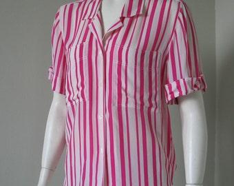 Vintage 1980s Spring Pink White Stripe Dior Blouse M