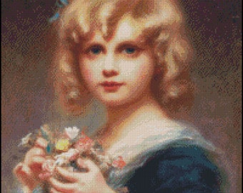 GIRL WITH FLOWERS cross stitch pattern No.657