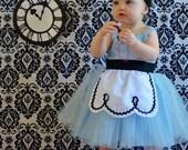 ALICE IN WONDERLAND dress retro Apron dress for girls fun for tea party handmade costume