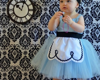 ALICE IN WONDERLAND dress retro Apron dress for girls fun for tea party handmade costume