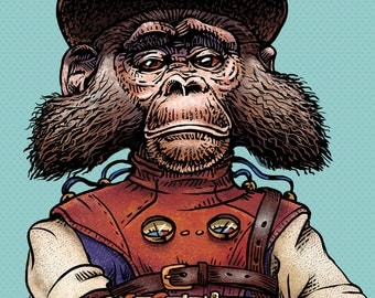 "Meriwether Ironcrumpet 8"" x 10"" Steampunk Monkey Nation Whimsical Art Print- Monkey Wall Decor"