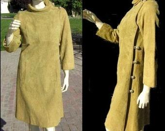 Vintage 60s MOD Leather Dress Olive Green DeerSkin Suede Asymmetrical Coat Style - Supple & Fabulous Small