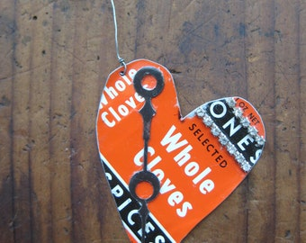 Vintage Reclaimed Orange & Black Tones Clove Spice Heart Tin Ornament, Upcycled, Gifts under 15, gifts for her, Christmas ornament