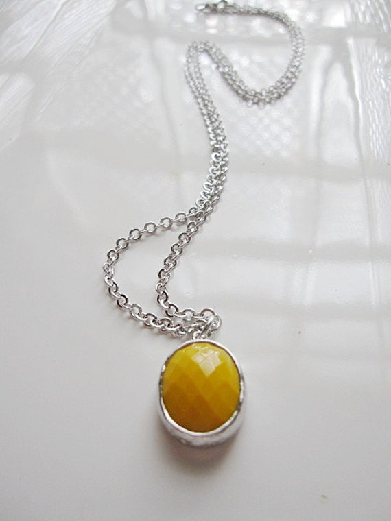 Silver necklace, Yellow Pendant Necklace, Faceted Glass Solitaire, Wedding- Bridesmaid Jewelry