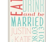 Eat Drink and Be Married Reception SIGN STOCK Customize your name and color quick wedding gift 18X24