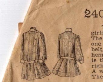 1800s Vintage Sewing Pattern Little Folks Pattern Company 2403 Bentley Frock 4 Years Girls Frock Dress Antique Edwardian Victorian