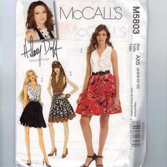 Misses Sewing Pattern McCalls M5803 Hillary Duff Ruffled Top Sleeveless Skirt Size 4 6 8 10 12 14 Bust 30 32 34 36 UNCUT