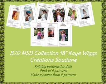 Collection pack of 6 PDF Knitting Patterns BJD KAYEWIGGS 18 inches dolls to choose