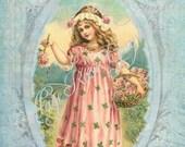 Large digital download LE JARDIN rose pink roses 5x7 vintage french garden girl Buy 3 get one Free
