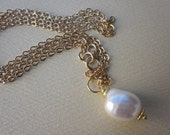 baroque pearl pendant on long gold-filled flat cable chain necklace