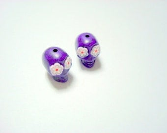 Purple Day of The Dead Sugar Skull Beads-12mm