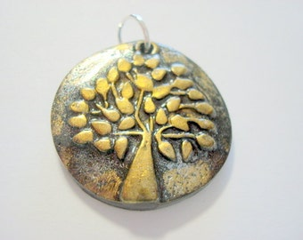 Black and Gold Triangle Tree of Life Handmade Polymer Clay Pendant