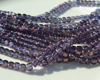 Luster Amethyst 7mm Rounded Czech Glass  Cube Beads  50
