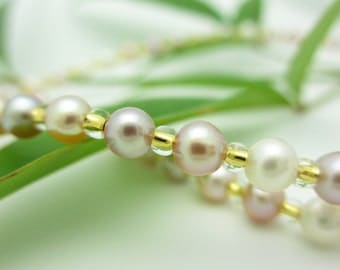 Pearl Necklace with 14k Gold Clasp, Natural Color Freshwater Pearls, High Quality, Choose Your Length - Free Gift Wrapping