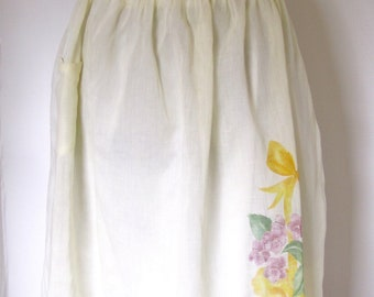 Vintage 1940's Yellow Hand Painted Floral Cotton Apron
