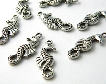 Seahorse Charms Set of 10 Silver Color 26x10mm