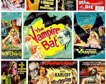 RETRO HORROR - Digital Printable Collage Sheet - Vintage B-Movie Posters, Pulp Film Art, Halloween Cult Classics, Instant Download