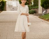 Cotton Lace Casual Wedding Dress -  Made to Order - Long Sleeves, Knee Length, Swing Skirt