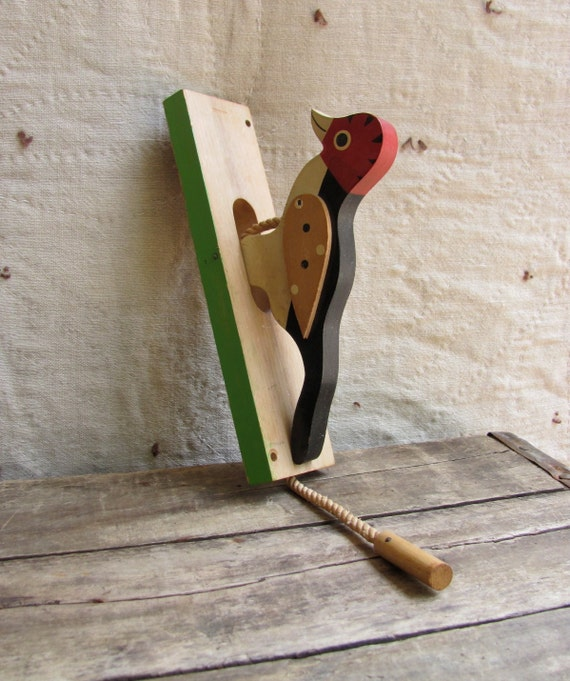 Sale Vintage C 1960s Woodpecker Door Knocker Painted